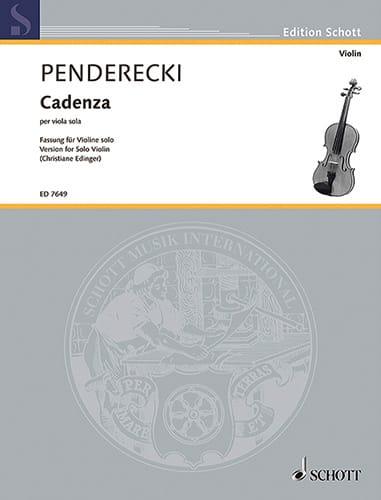 Krzysztof Penderecki - Cadenza - Violin - Partition - di-arezzo.es