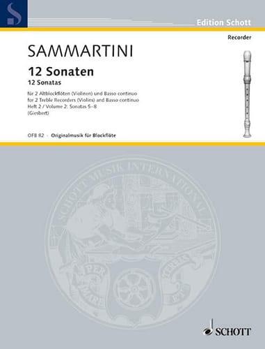 SAMMARTINI - 12 Sonaten - Heft 2: Nr. 5-8 - 2 Altblockflöten BC - Partition - di-arezzo.com