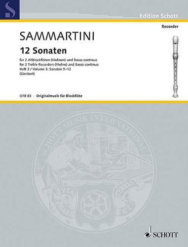 SAMMARTINI - 12 Sonaten - Heft 3: Nr. 9-12 - 2 Altblockflöten BC - Partition - di-arezzo.com
