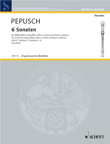 Johann Christoph Pepusch - 6 Sonaten, Bd. 2 Nr. 4-6 - Altblockflöte u. BC - Partition - di-arezzo.co.uk