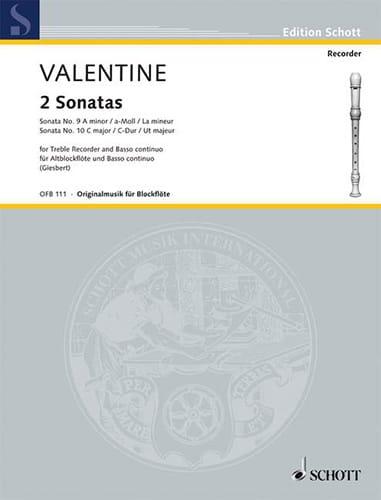 Robert Valentine - Sonaten Nr. 9 and 10 - Altblockflöte u. Bc - Partition - di-arezzo.com