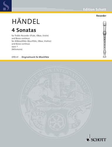 HAENDEL - 4 Sonaten aus op. 1 - Altblockflöte u. Bc - Partition - di-arezzo.co.uk