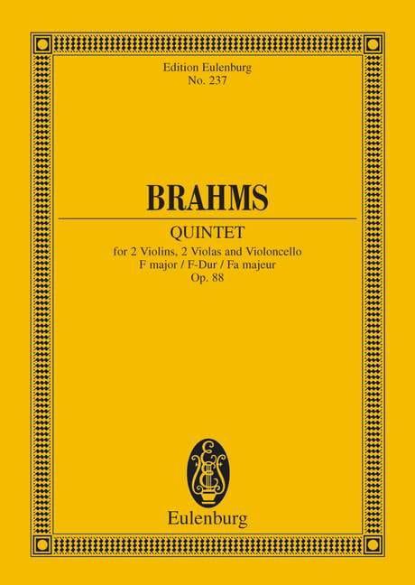 Streich-Quintett F-Dur, op. 88 F-Dur - BRAHMS - laflutedepan.com