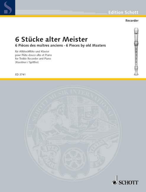 Sechs Stücke alter Meister - Alblockflöte Klavier - laflutedepan.com