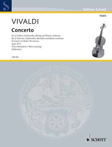 VIVALDI - Concerto in Re Min.Op.3 N ° 11 - Rv .565 - Partition - di-arezzo.co.uk