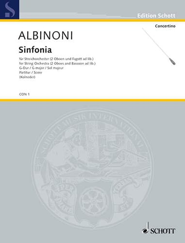 Sinfonia G-Dur - Conducteur - ALBINONI - Partition - laflutedepan.com