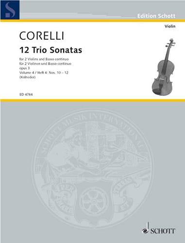 12 Triosonaten op. 3 - Bd. 4 : Nr. 10-12 -2 Violinen u. Bc - laflutedepan.com