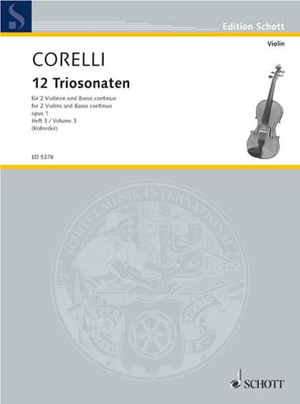 CORELLI - 12 Triosonaten op. 1 - Bd. 3: Nr. 7-9 - 2 Violinen u. Bc - Partition - di-arezzo.com
