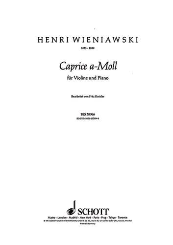 Caprice a-moll - WIENAWSKI - Partition - Violon - laflutedepan.com