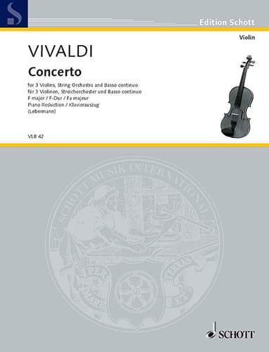 VIVALDI - Konzert F-Dur - 3 Violons Piano - Partition - di-arezzo.fr