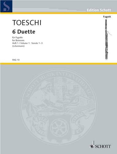 6 Duette für Fagotte - Bd. 1 - Carl Joseph Toeschi - laflutedepan.com