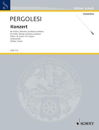 Giovanni Battista Pergolesi - Violin-Konzert B-Dur - Partitur - Partition - di-arezzo.co.uk
