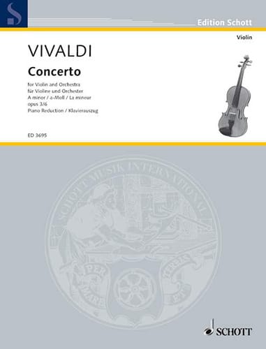 VIVALDI - Concerto the Minor Op. 3 N ° 6 - Partition - di-arezzo.co.uk