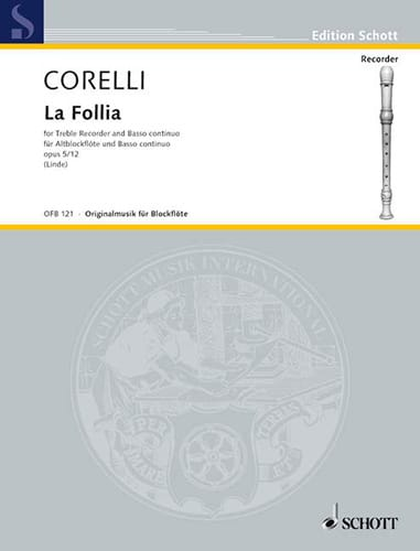 CORELLI - The Follia op. 5 n ° 12 - Altblockflöte und Bc - Partition - di-arezzo.co.uk
