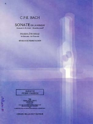 Carl Philipp Emanuel Bach - Sonata in A minor Wq 132 - Flute alone - Partition - di-arezzo.com