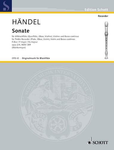 Sonate F-Dur -Altblockflöte Violine Bc - HAENDEL - laflutedepan.com