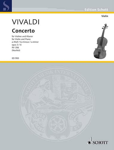 VIVALDI - Concerto the minor op. 3 n ° 6 Nachèz - Partition - di-arezzo.com
