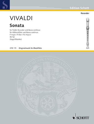 VIVALDI - Sonata F-Dur RV 52 - Altblockflöte u. Bc - Partition - di-arezzo.com