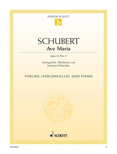 SCHUBERT - Ave Maria op. 52 n ° 6 - Partition - di-arezzo.co.uk