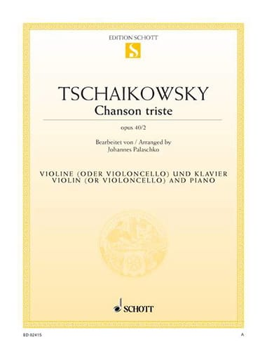 TCHAIKOVSKY - Sad song op. 40 n ° 2 - Partition - di-arezzo.com