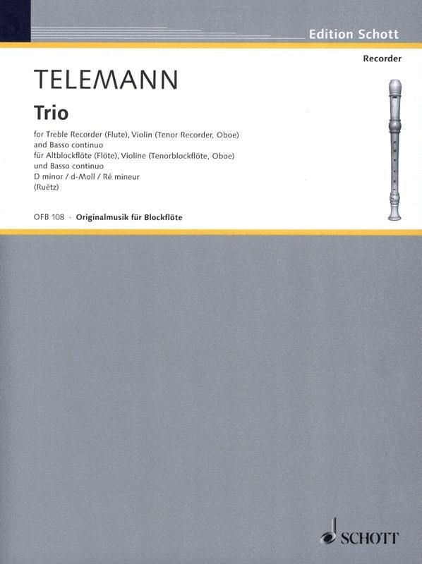 TELEMANN - Trio d-moll - Alblockflöte Violine Bc - Partition - di-arezzo.com