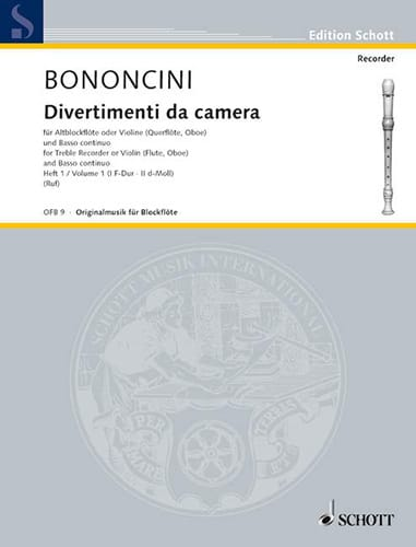 Divertimenti da Camera Volume 1 -Altblockfl. o. Violine u. BC - laflutedepan.com