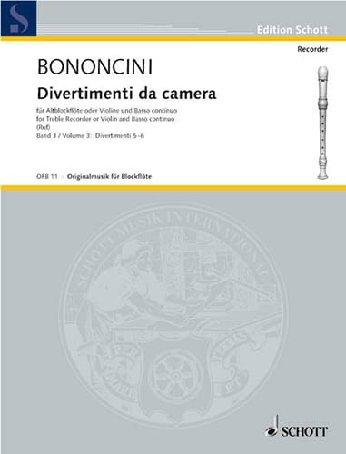 Divertimenti da Camera Volume 3 -Altblockfl. o. Violine u. BC - laflutedepan.com