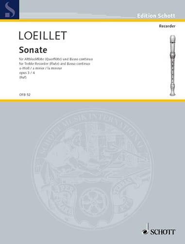 Jean-Baptiste Loeillet - Sonate a-moll op. 3 n ° 4 - Altblockflöte u. Bc - Partition - di-arezzo.co.uk