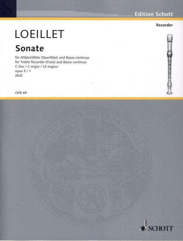 Jean-Baptiste Loeillet - C-Dur Sonata op. 3 n ° 1 - Altblockflöte u. Bc - Partition - di-arezzo.co.uk
