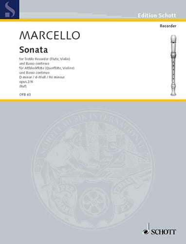 Benedetto Marcello - Sonata d-moll, op. 2 n ° 8 - Altblockflöte u. Bc - Partition - di-arezzo.co.uk