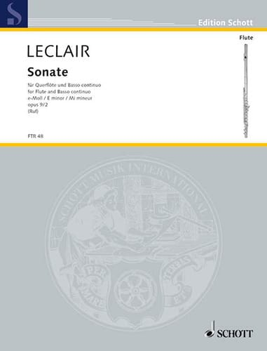 Jean-Marie Leclair - Sonata E-Moll Mi Min., Op. 9 No. 2 - Flute and BC - Partition - di-arezzo.co.uk