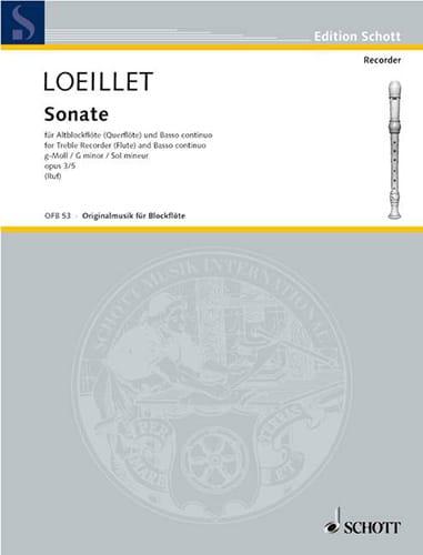 Jean-Baptiste Loeillet - Sonata g-moll op. 3 n ° 5 - Altblockflöte u. Bc - Partition - di-arezzo.co.uk