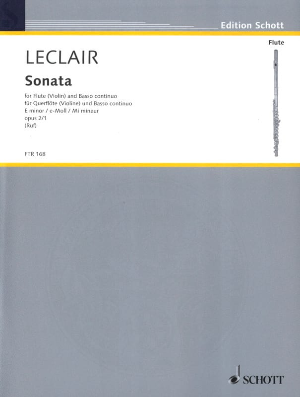 Jean-Marie Leclair - Sonata E minor op. 2 n ° 1 - Flute and Bc - Partition - di-arezzo.co.uk