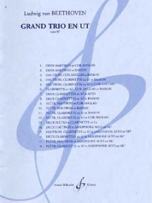 BEETHOVEN - Grand Trio in C op. 87 - 3 Winds - Partition - di-arezzo.co.uk