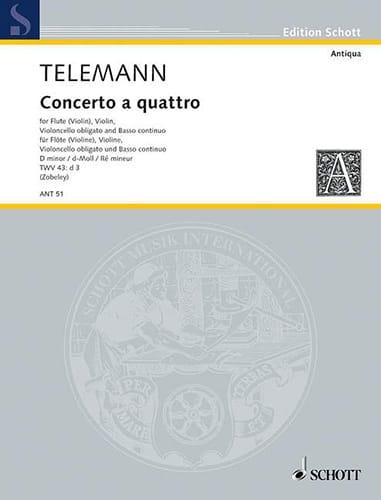 Concerto a quattro d-moll -Flöte Violine Violoncello obl. u. BC - laflutedepan.com