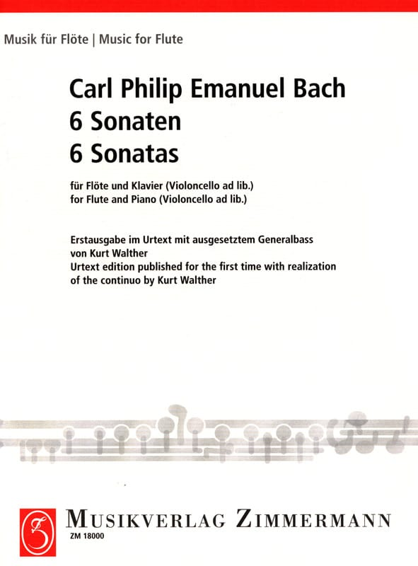 Carl Philipp Emanuel Bach - 6 Sonaten - Flöte und Bc Klavier - Partition - di-arezzo.co.uk