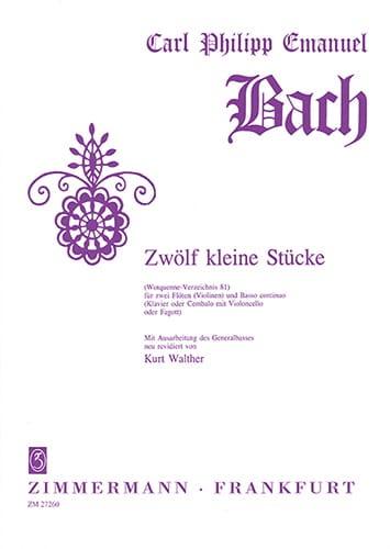 Carl Philipp Emanuel Bach - 12 Kleine Stücke Wq 81 -2 Flöten Bc - Partition - di-arezzo.fr