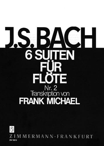 BACH - Suite N ° 2 BWV 1008 - For Flute Only 6 Suiten Für Flöte - Partition - di-arezzo.co.uk