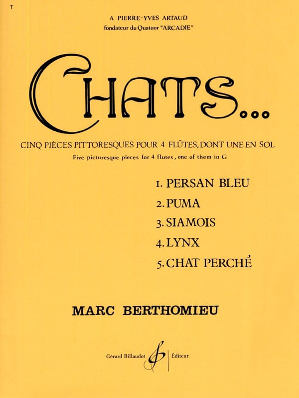 Marc Berthomieu - Cats - 4 Flutes - Partition - di-arezzo.co.uk