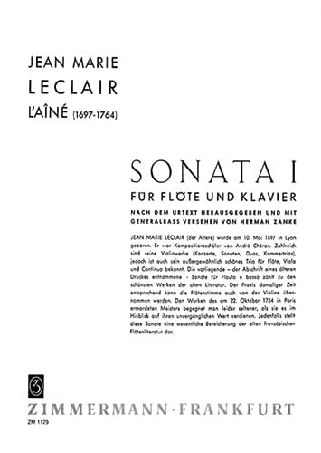 Jean-Marie Leclair - Sonata n ° 1 - Flöte Klavier - Partition - di-arezzo.co.uk