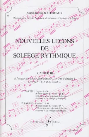 BOURDEAUX - New lessons in rhythmic solfeggio Volume 3 - Partition - di-arezzo.com
