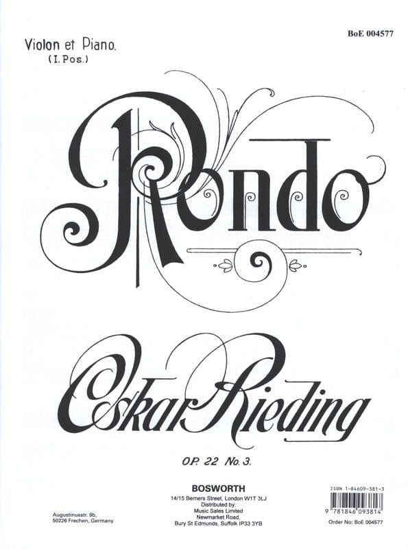 Oskar Rieding - Rondo op. 22 n ° 3 - Partition - di-arezzo.es