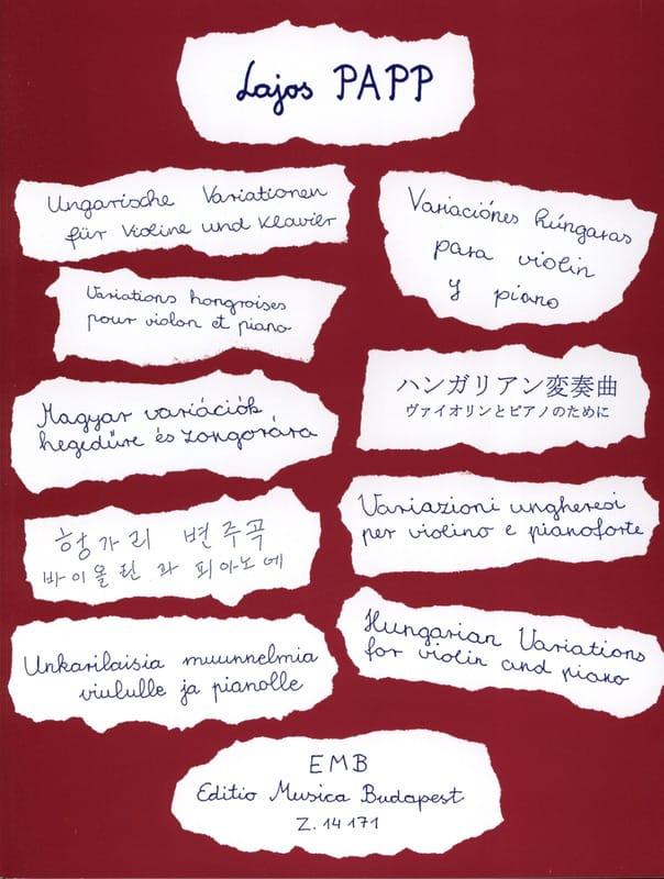 Variations hongroises - Lajos Papp - Partition - laflutedepan.com