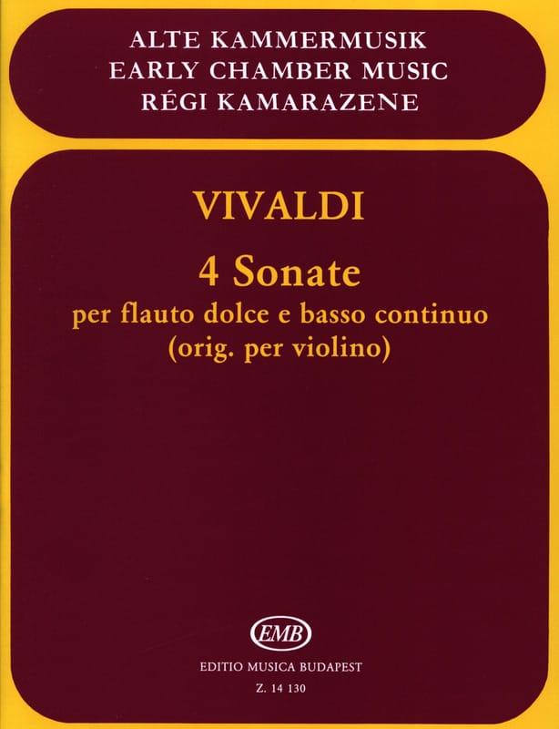 4 Sonates - Flauto dolce e Bc - VIVALDI - Partition - laflutedepan.com