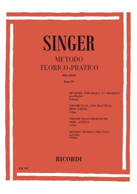Sigismondo Singer - Metodo Theorico-Pratico - Oboe - Volume 4 - Partition - di-arezzo.fr