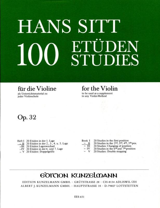 Hans Sitt - 100 studi su op. 32 - Libro 2 - Partition - di-arezzo.it
