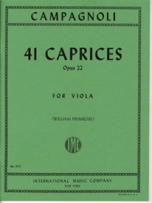 Bartolomeo Campagnoli - 41 Caprices op. 22 - Viola - Partition - di-arezzo.co.uk