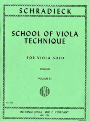 Henry Schradieck - School of Viola Technique, Volume 3 - Viola - Partition - di-arezzo.com