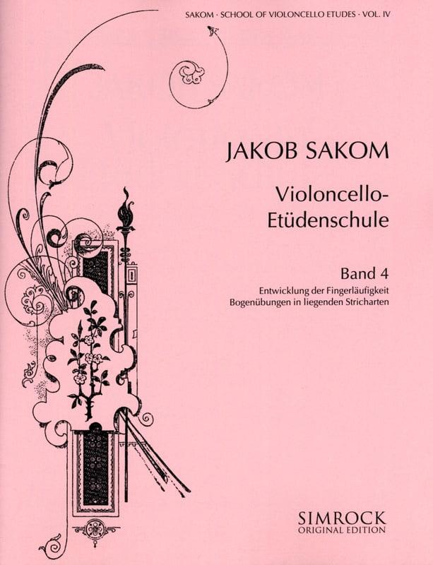 Violoncello Etüden-Schule, Heft 4 - Jakob Sakom - laflutedepan.com