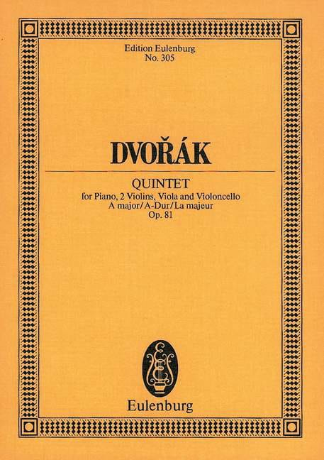 DVORAK - Quintett A-Dur, op. 81 B 155 - Partition - di-arezzo.co.uk